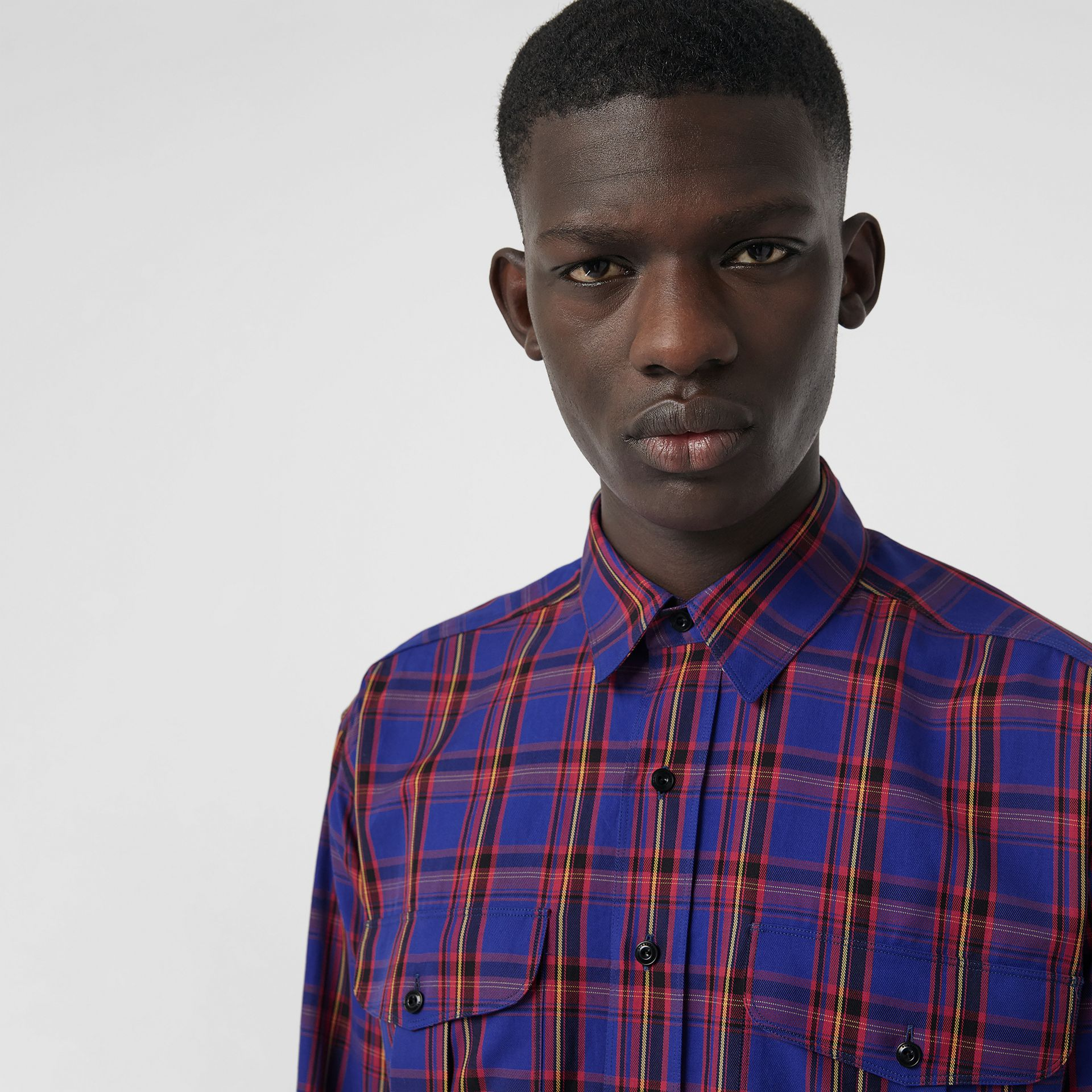 Check Cotton Twill Shirt in Bright Blue - Men   Burberry United States - gallery image 1