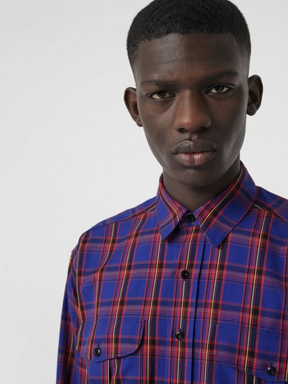 Check Cotton Twill Shirt in Bright Blue - Men   Burberry United States - cell image 1