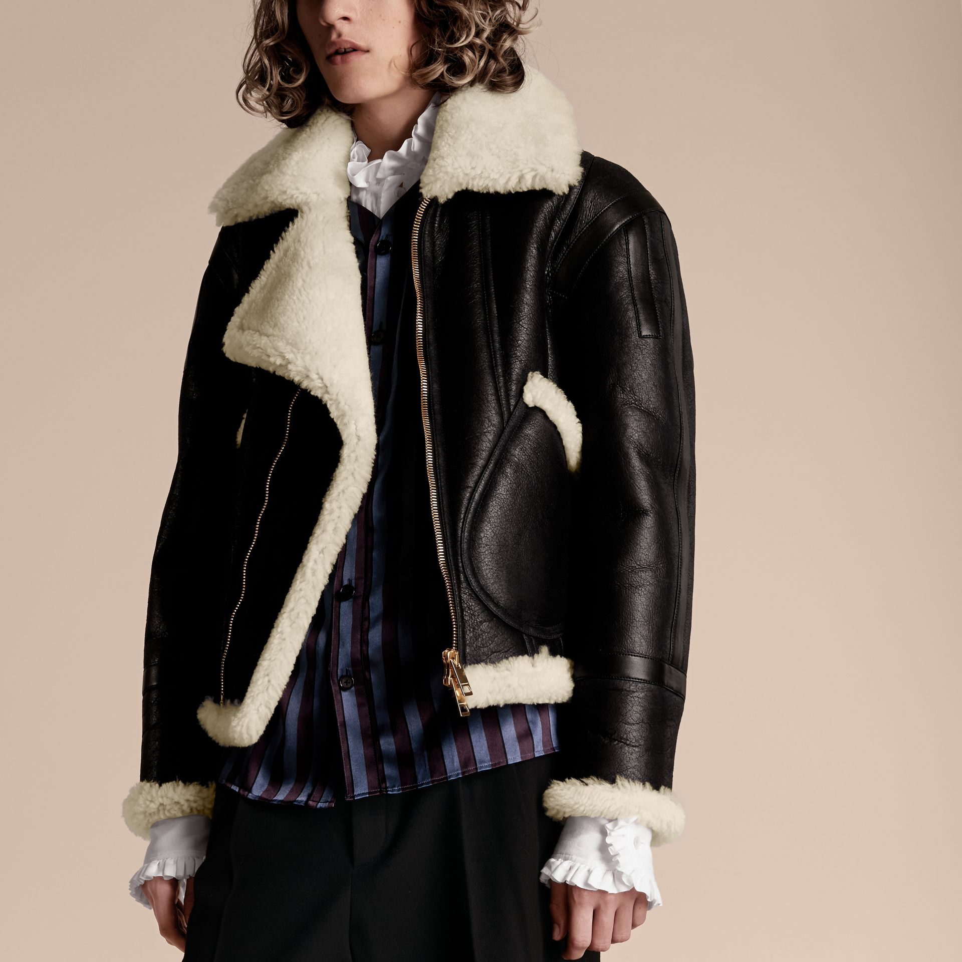 Panelled Shearling Aviator Jacket - gallery image 5