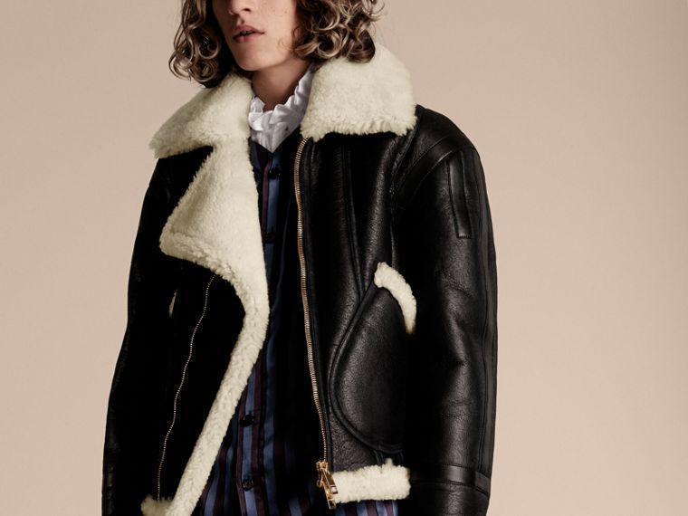 Panelled Shearling Aviator Jacket - cell image 4
