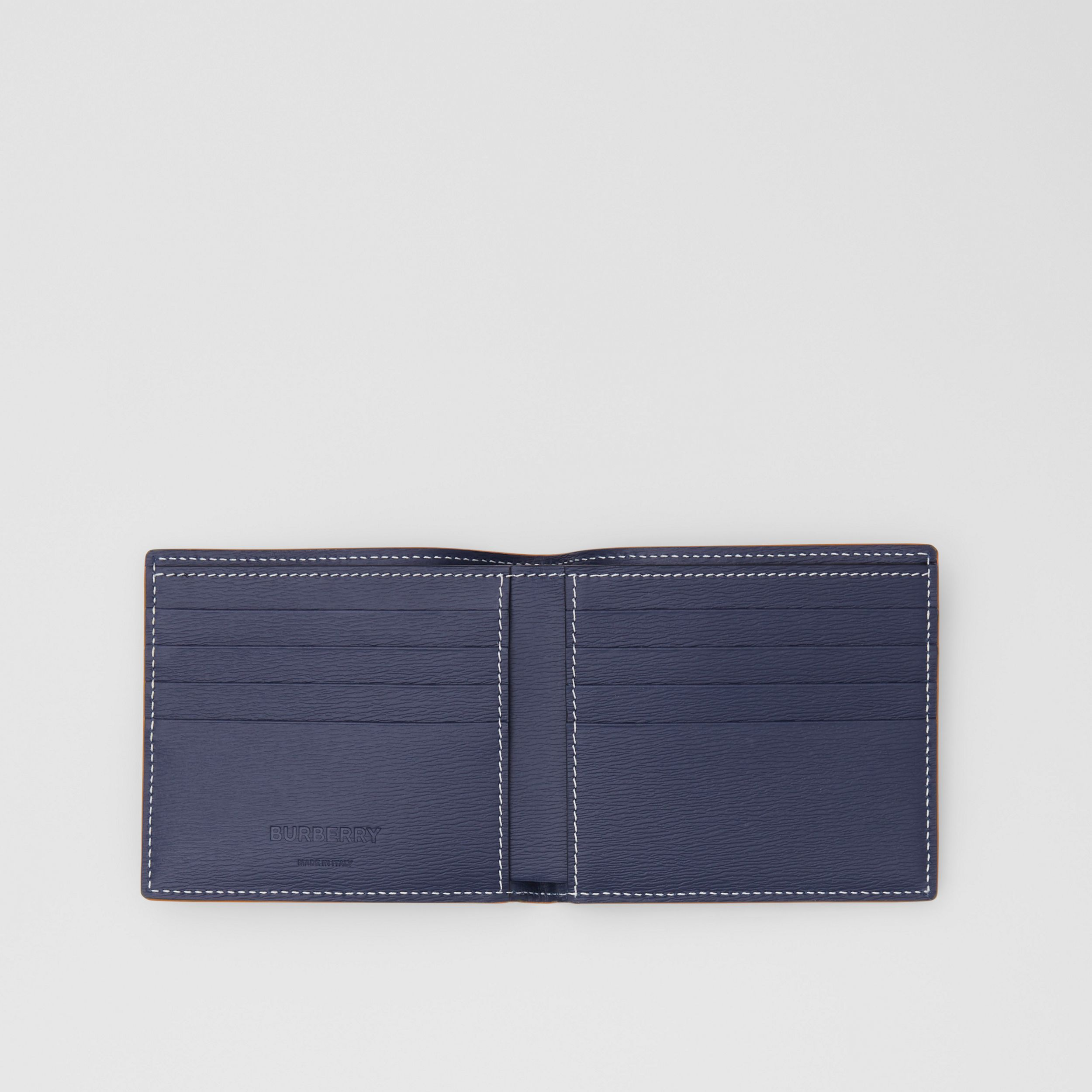 Topstitched Grainy Leather International Bifold Wallet in Navy - Men | Burberry - 3