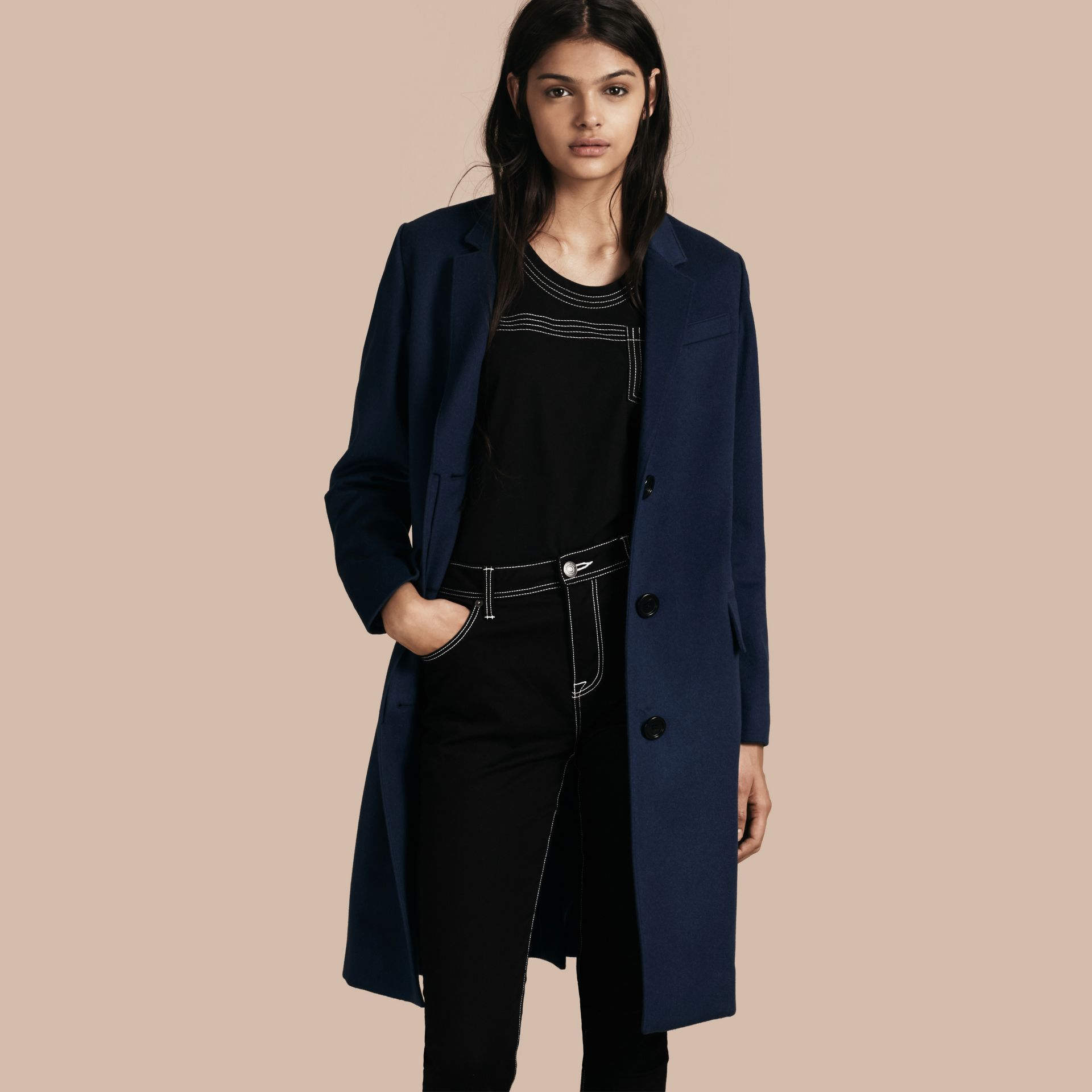 Bright navy Cashmere Tailored Coat Bright Navy - gallery image 1