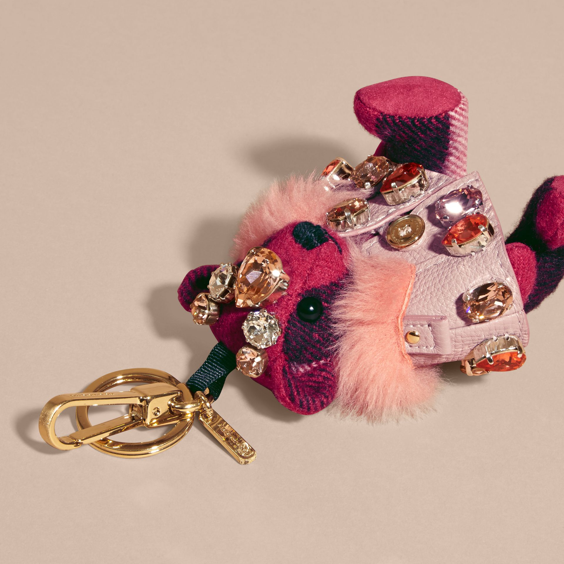 Thomas Bear Charm with Cape and Crystals in Fuchsia Pink - Women | Burberry - gallery image 3