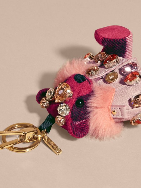 Fuchsia pink Thomas Bear Charm with Cape and Crystals Fuchsia Pink - cell image 3