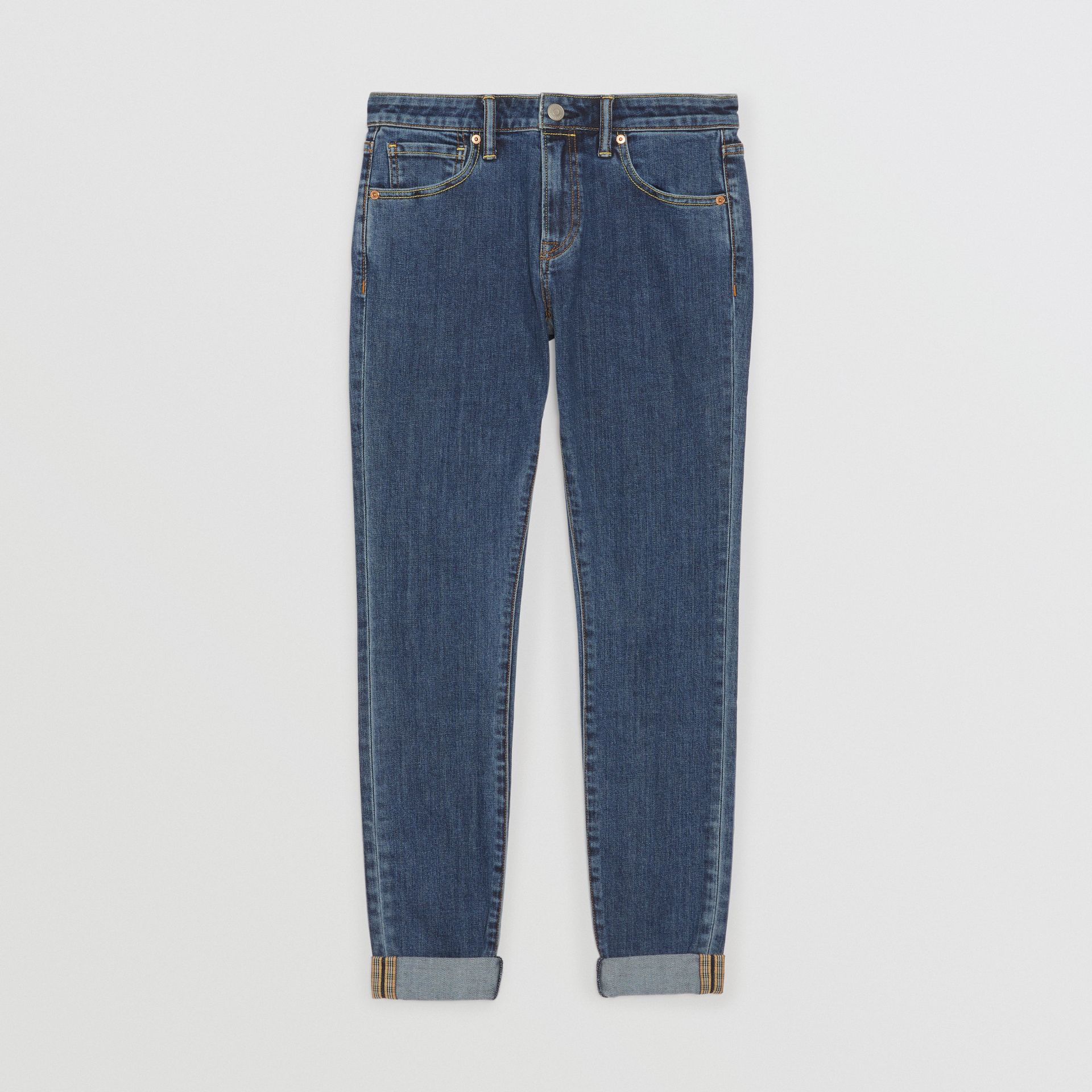 Skinny Fit Japanese Denim Jeans in Blue - Women | Burberry Australia - gallery image 3
