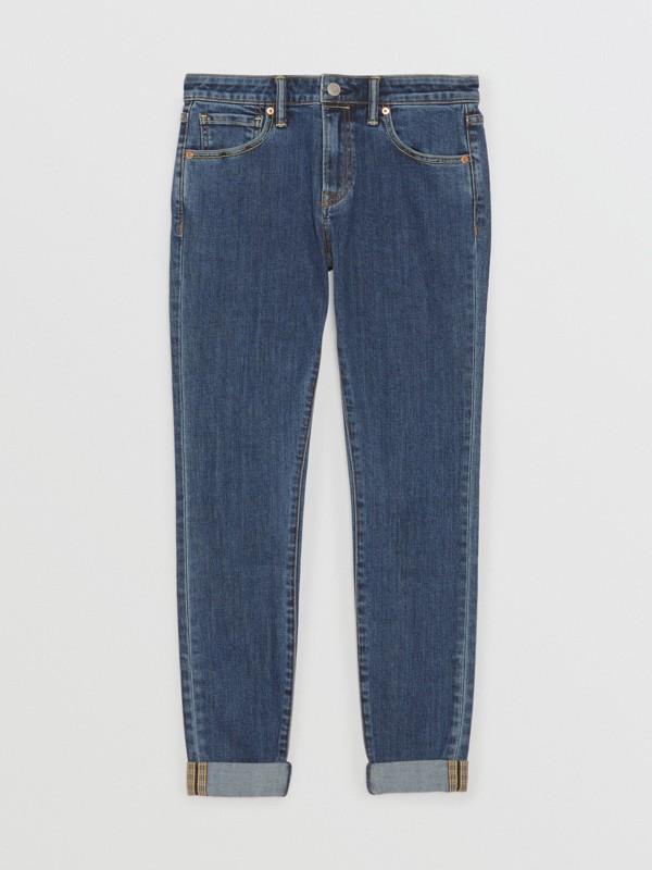 Skinny Fit Japanese Denim Jeans in Blue - Women | Burberry Australia - cell image 3