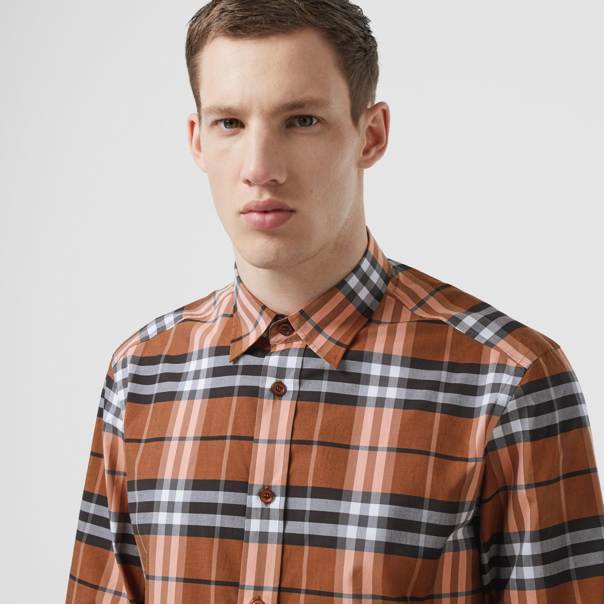Check Cotton Poplin Shirt in Clementine - Men | Burberry United Kingdom - gallery image 4