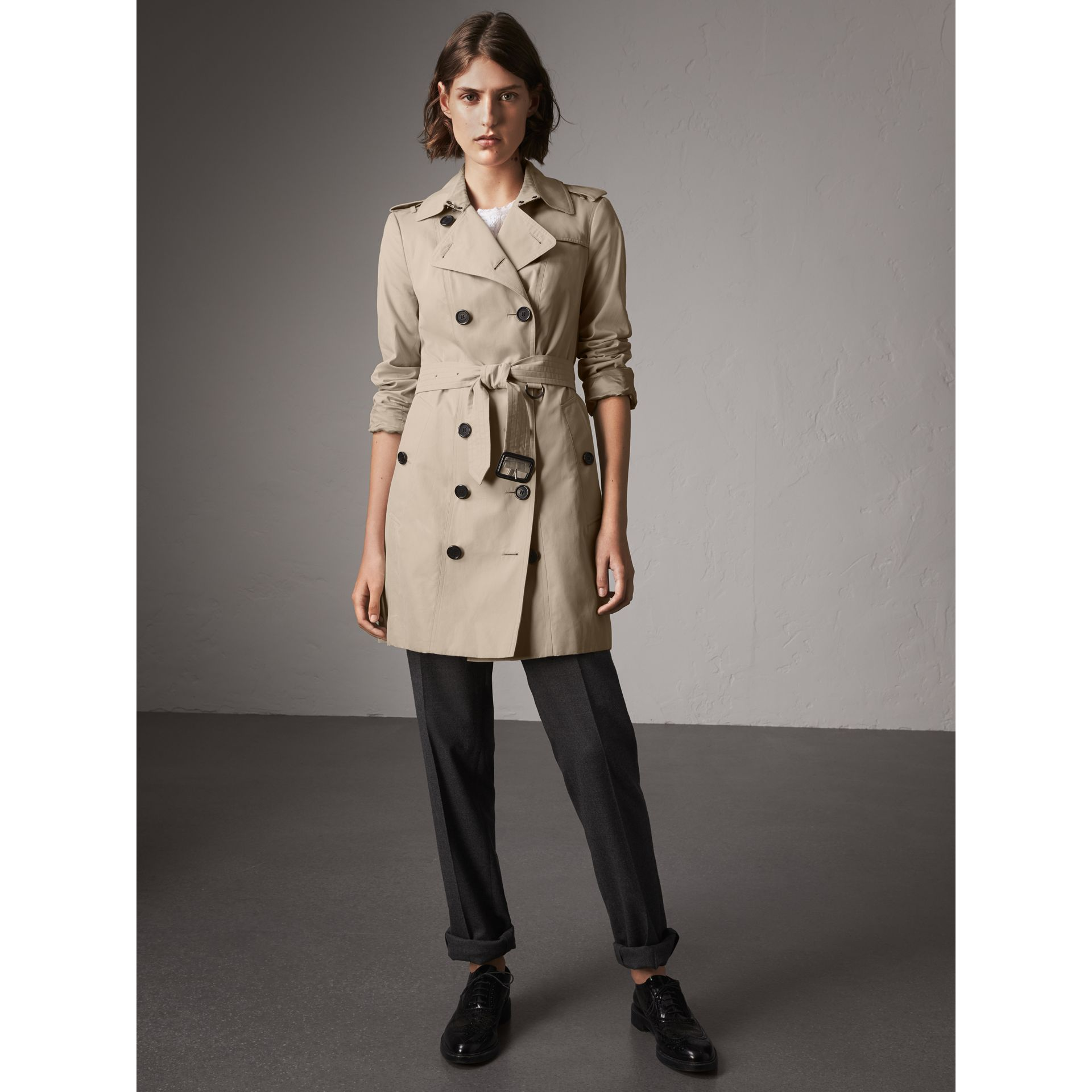 The Sandringham – Mid-Length Heritage Trench Coat in Stone - Women | Burberry - gallery image 8