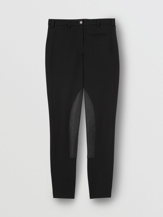 Lambskin Panel Stretch Crepe Jersey Trousers in Black