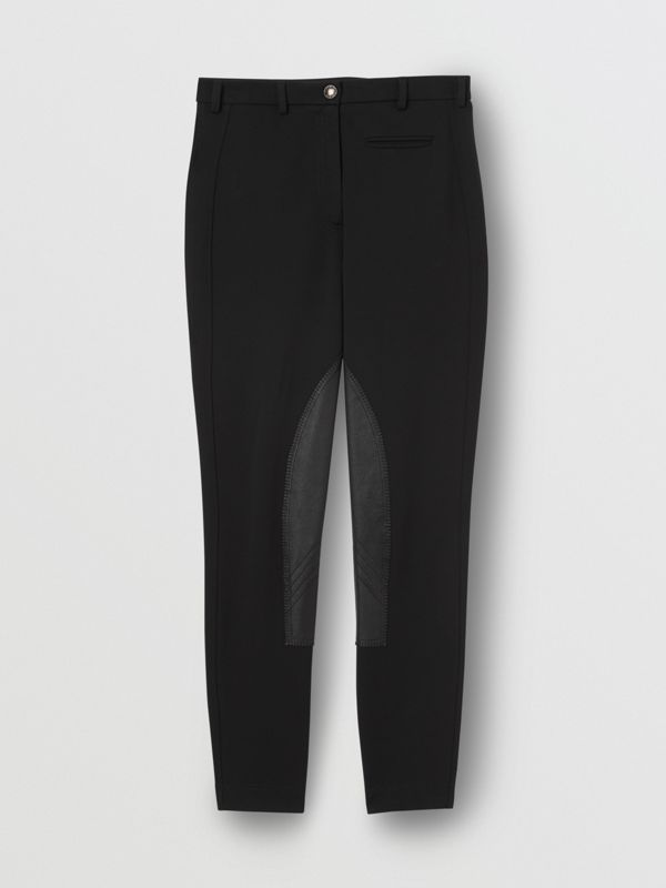 Lambskin Panel Stretch Crepe Jersey Trousers in Black - Women | Burberry - cell image 3
