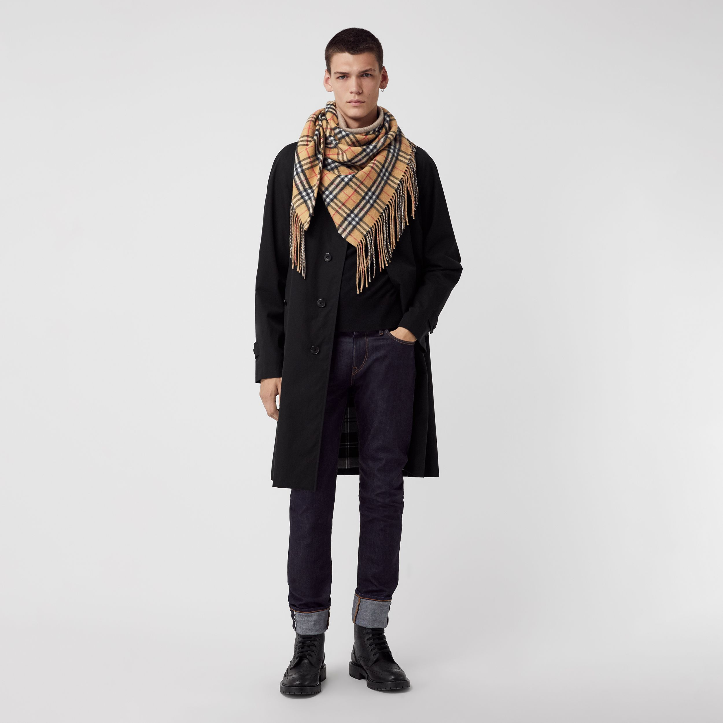 The Burberry Bandana in Vintage Check Cashmere in Sandstone - Men | Burberry Singapore - 4