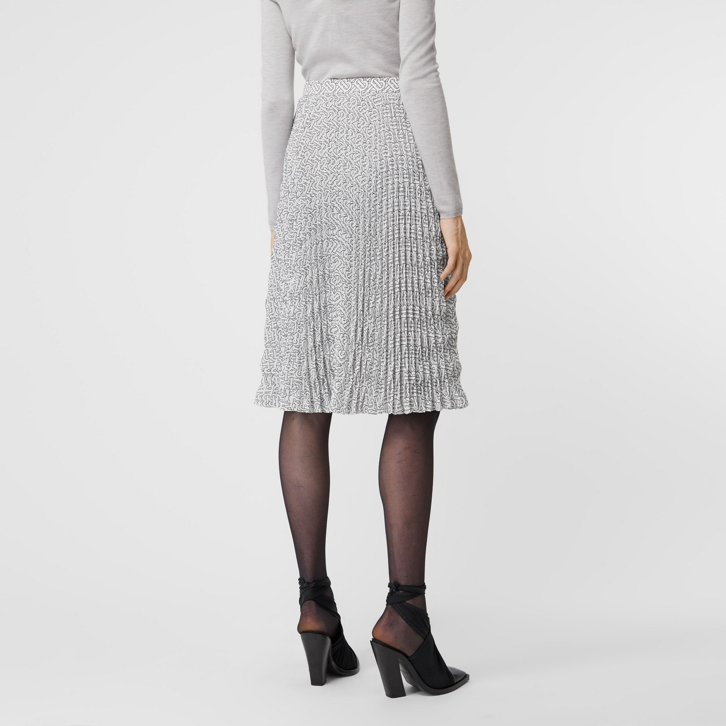 Monogram Print Crepe De Chine Pleated Skirt in White/black - Women | Burberry - 3