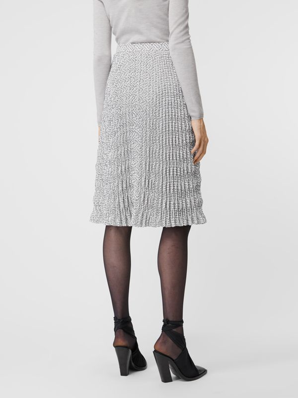 Monogram Print Crepe De Chine Pleated Skirt in White/black - Women | Burberry Australia - cell image 2