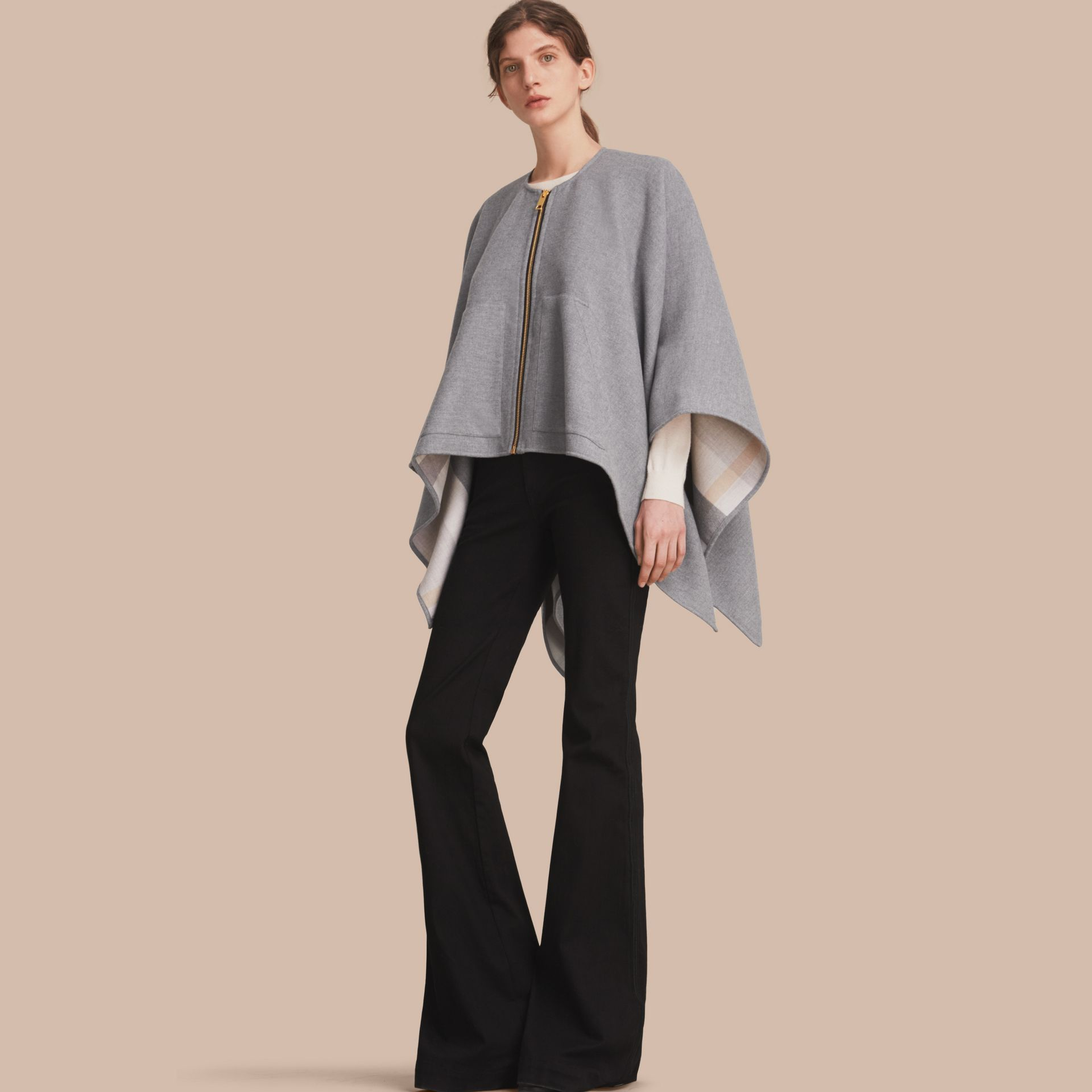 Merino Wool Poncho in Light Grey - Women | Burberry - gallery image 1