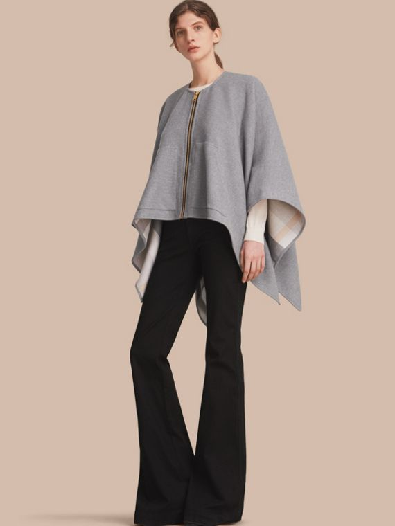 Merino Wool Poncho in Light Grey - Women | Burberry Singapore