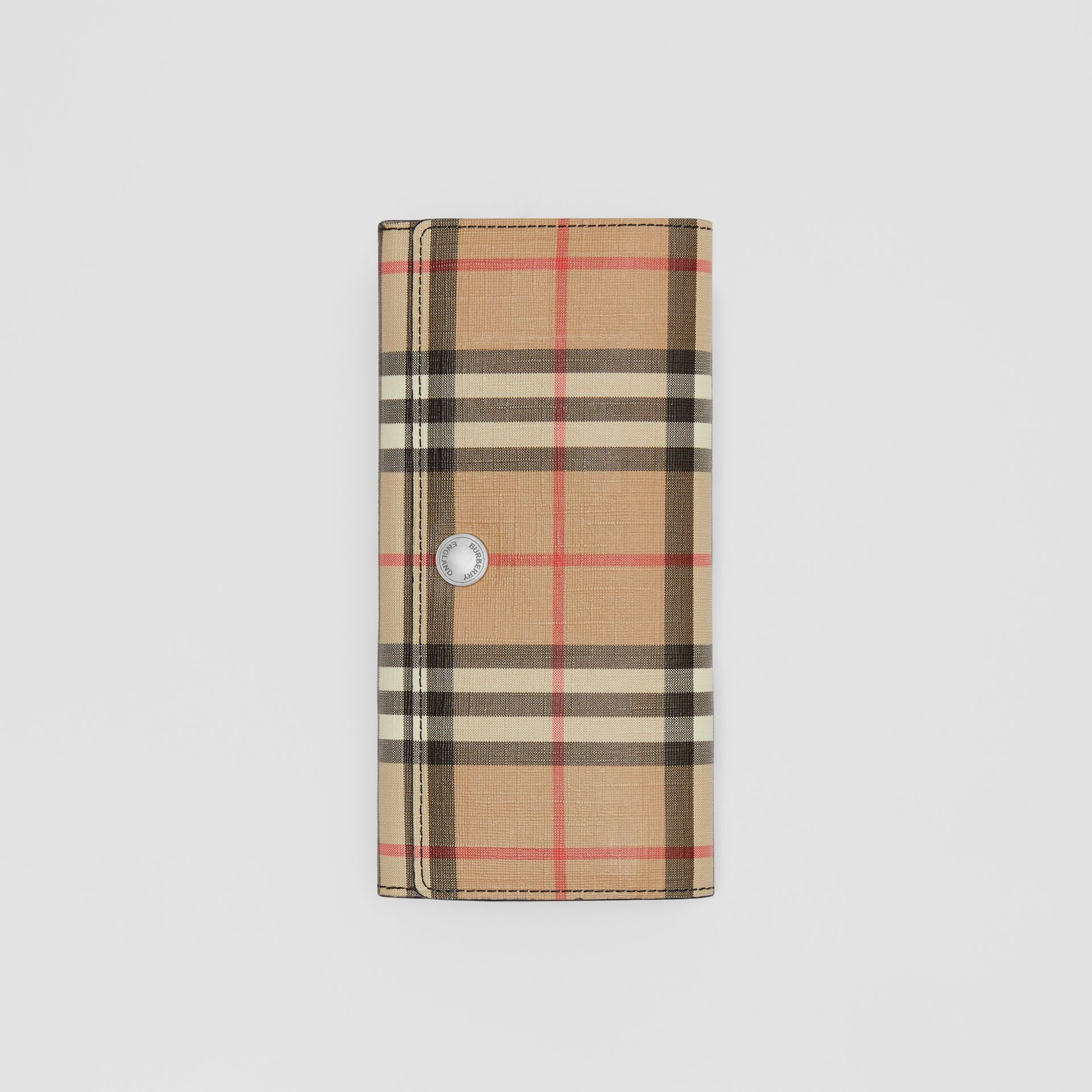 Vintage Check E-canvas Continental Wallet in Black - Women | Burberry United Kingdom - gallery image 3