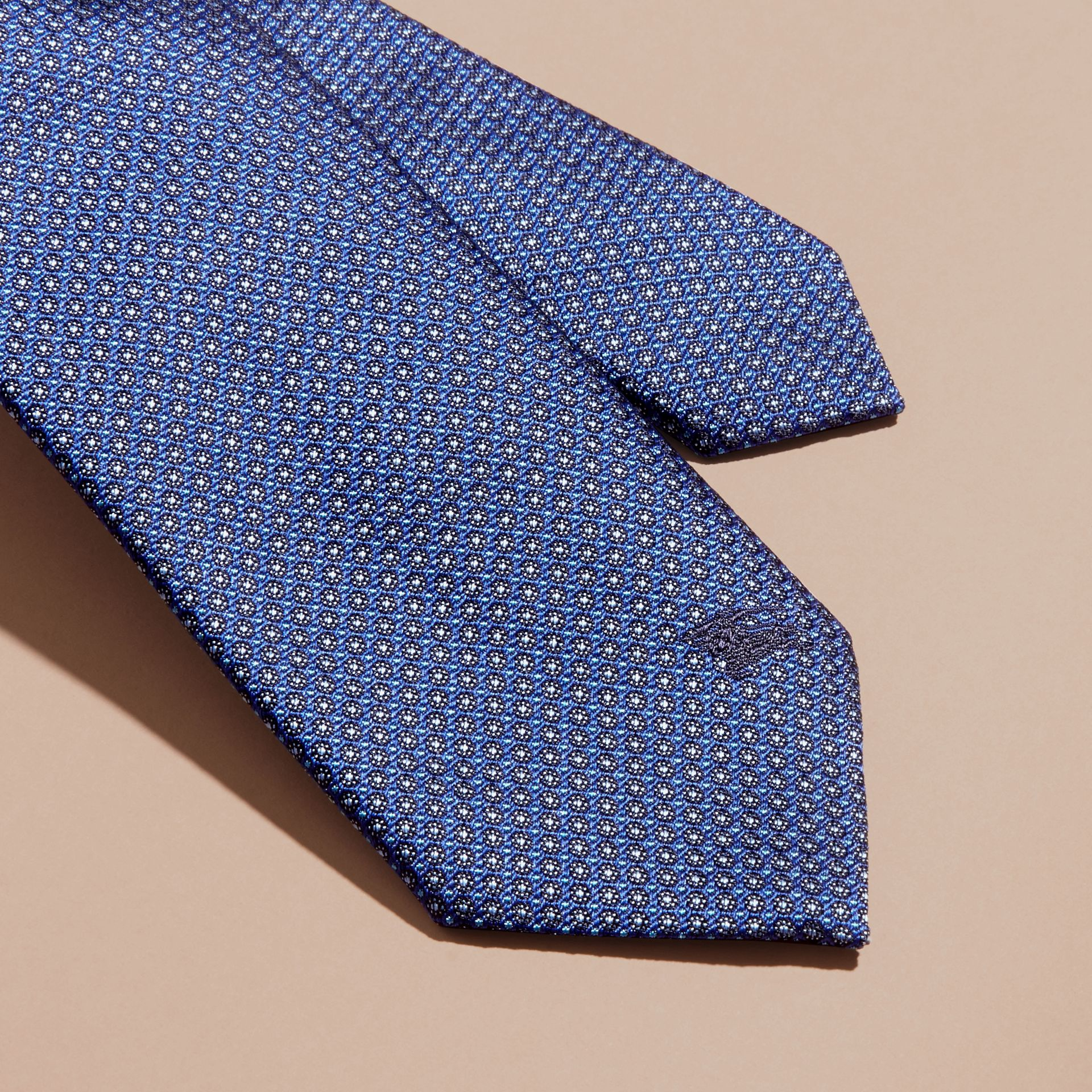 Modern Cut Patterned Silk Tie in Brilliant Blue - gallery image 2