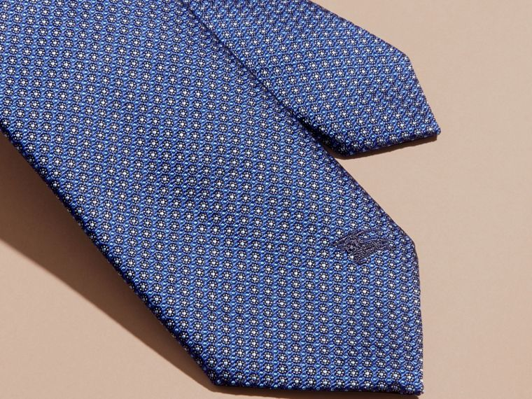 Brilliant blue Modern Cut Patterned Silk Tie Brilliant Blue - cell image 1