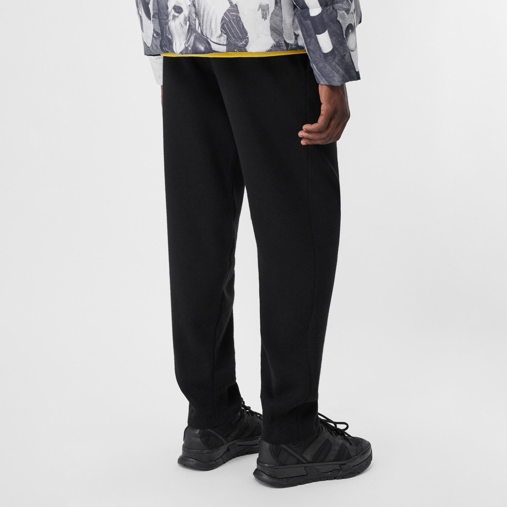 Logo Graphic Merino Wool Trackpants in Black - Men | Burberry - gallery image 2