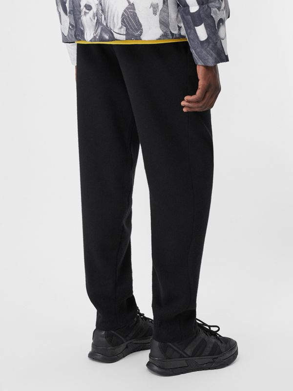 Logo Graphic Merino Wool Trackpants in Black - Men | Burberry - cell image 2
