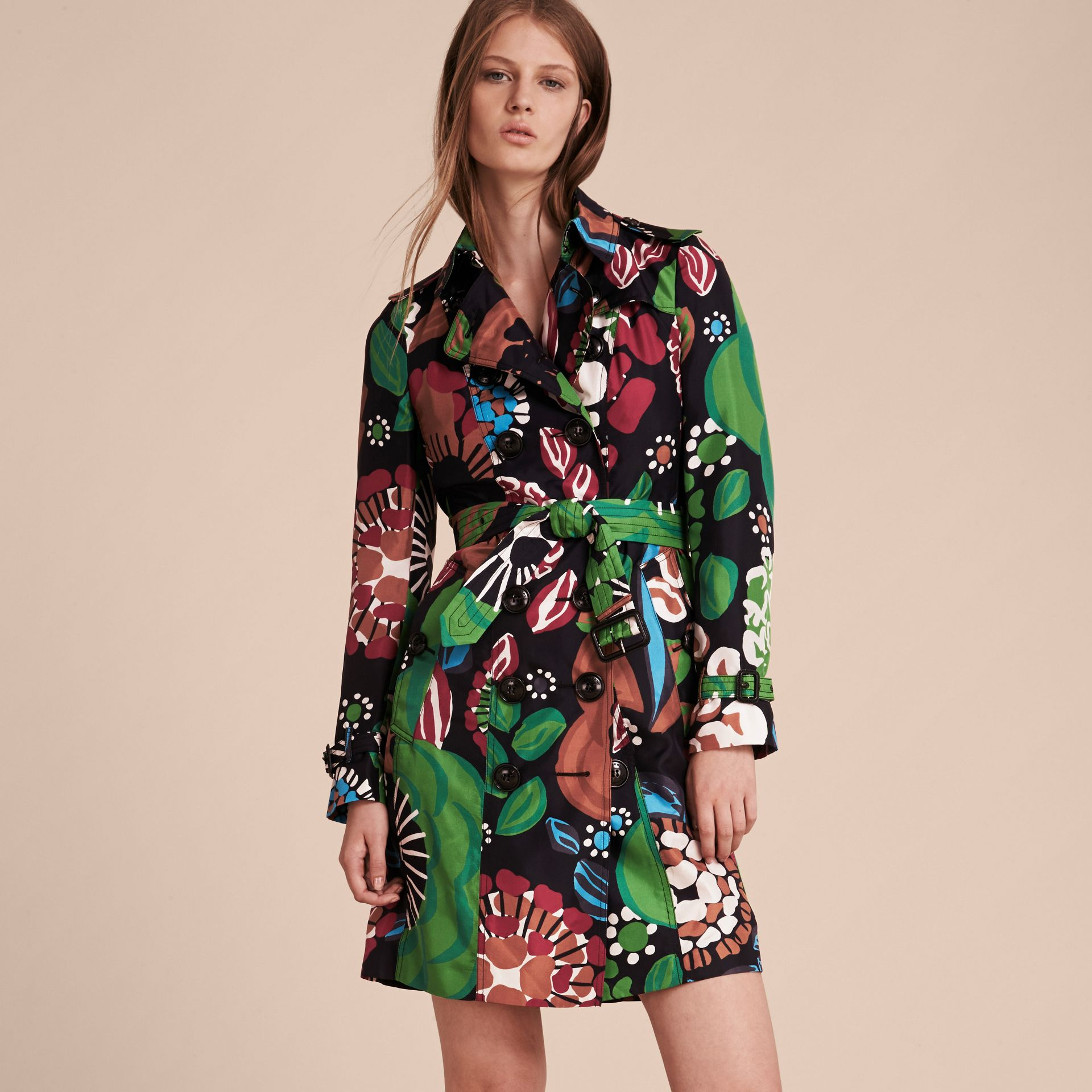 Deep navy Floral Print Silk Trench Coat - gallery image 6