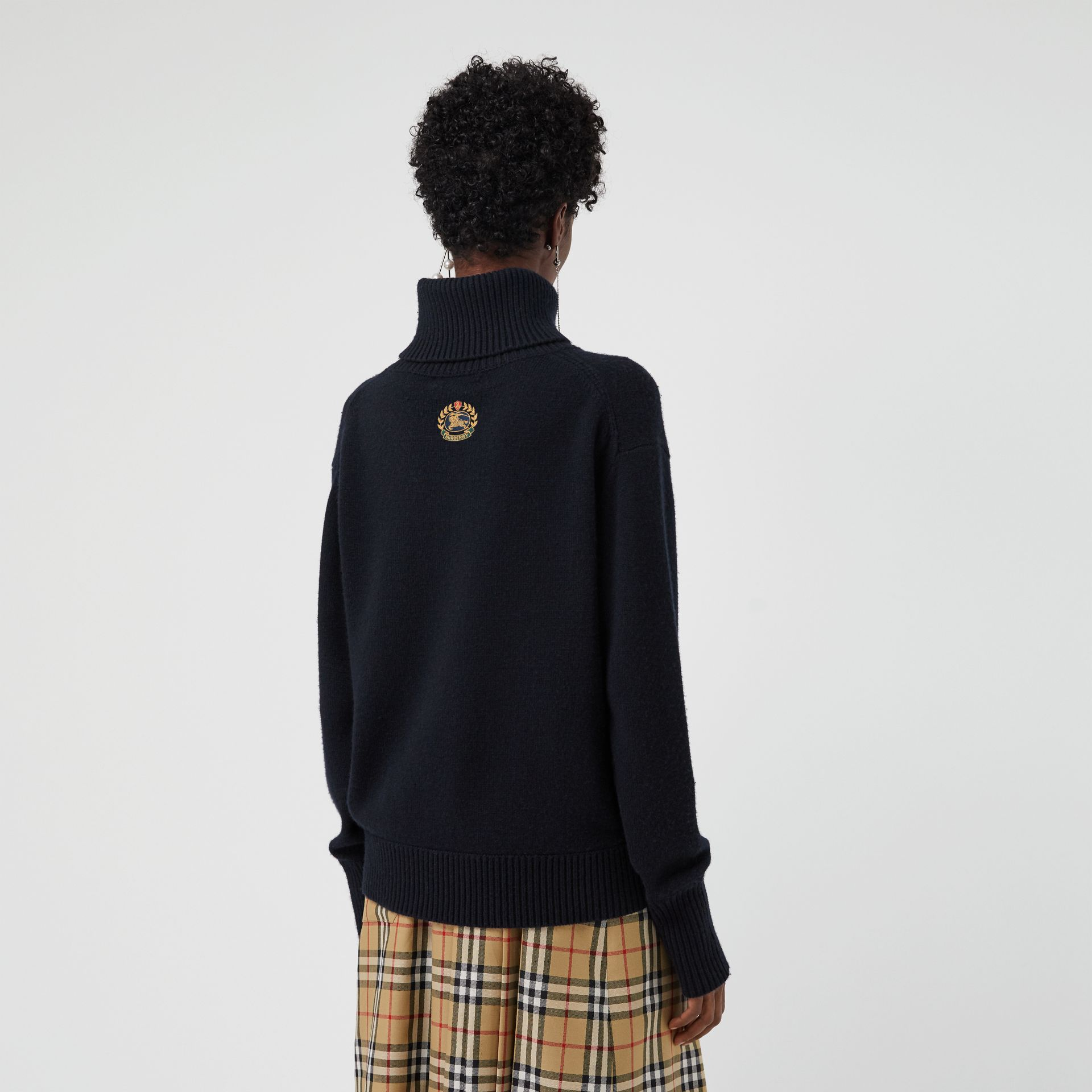 Embroidered Crest Cashmere Roll-neck Sweater in Navy - Women | Burberry Singapore - gallery image 2