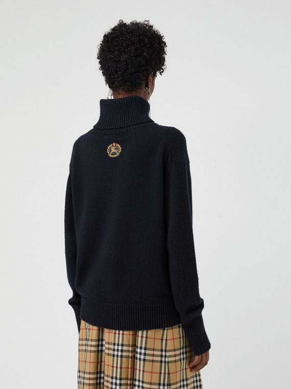 Archive Logo Appliqué Cashmere Roll-neck Sweater in Navy