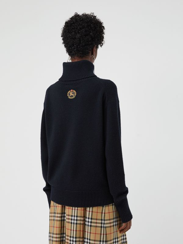 Embroidered Crest Cashmere Roll-neck Sweater in Navy - Women | Burberry Australia - cell image 2