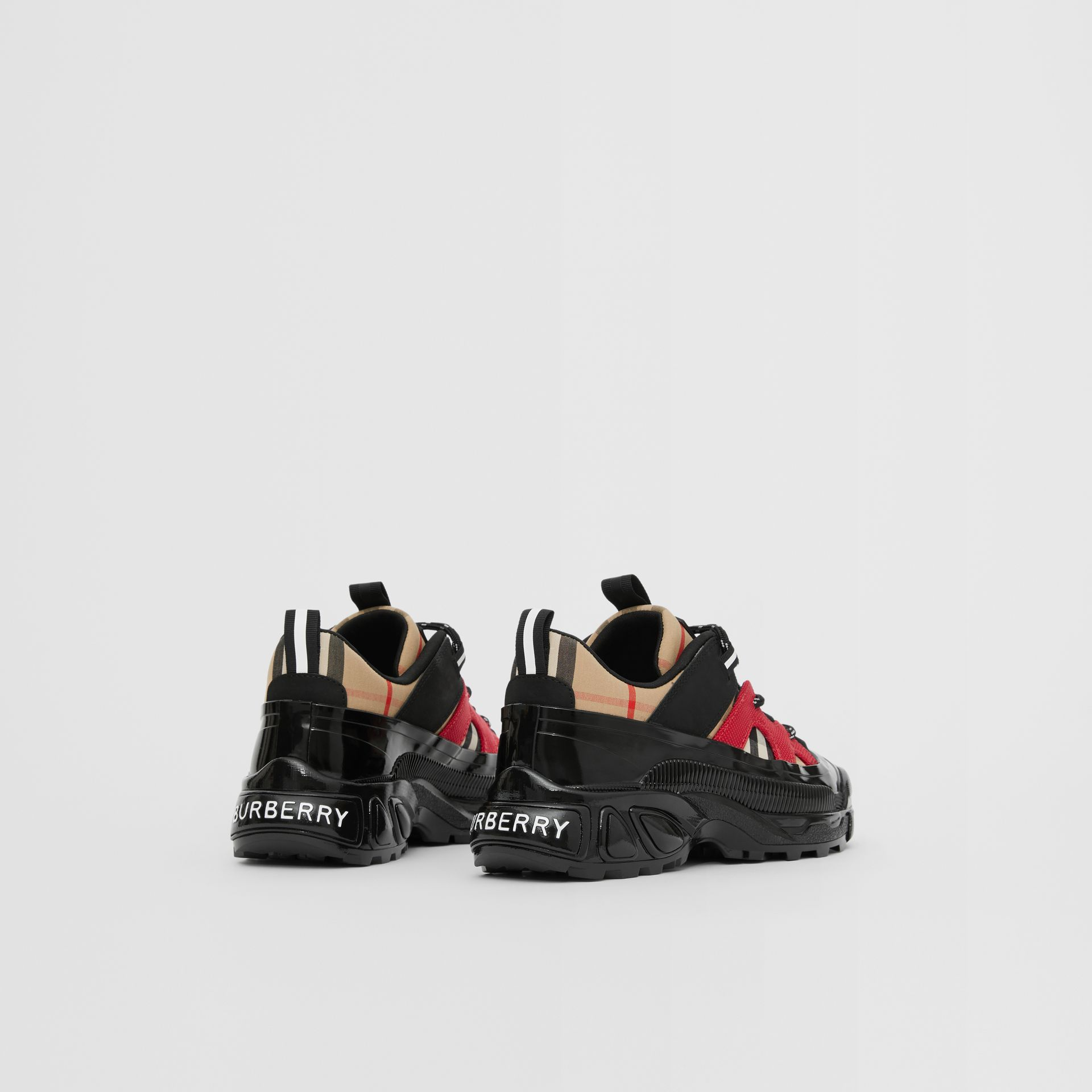 Vintage Check Cotton and Nubuck Sneakers in Black/bright Red - Children | Burberry United States - gallery image 2