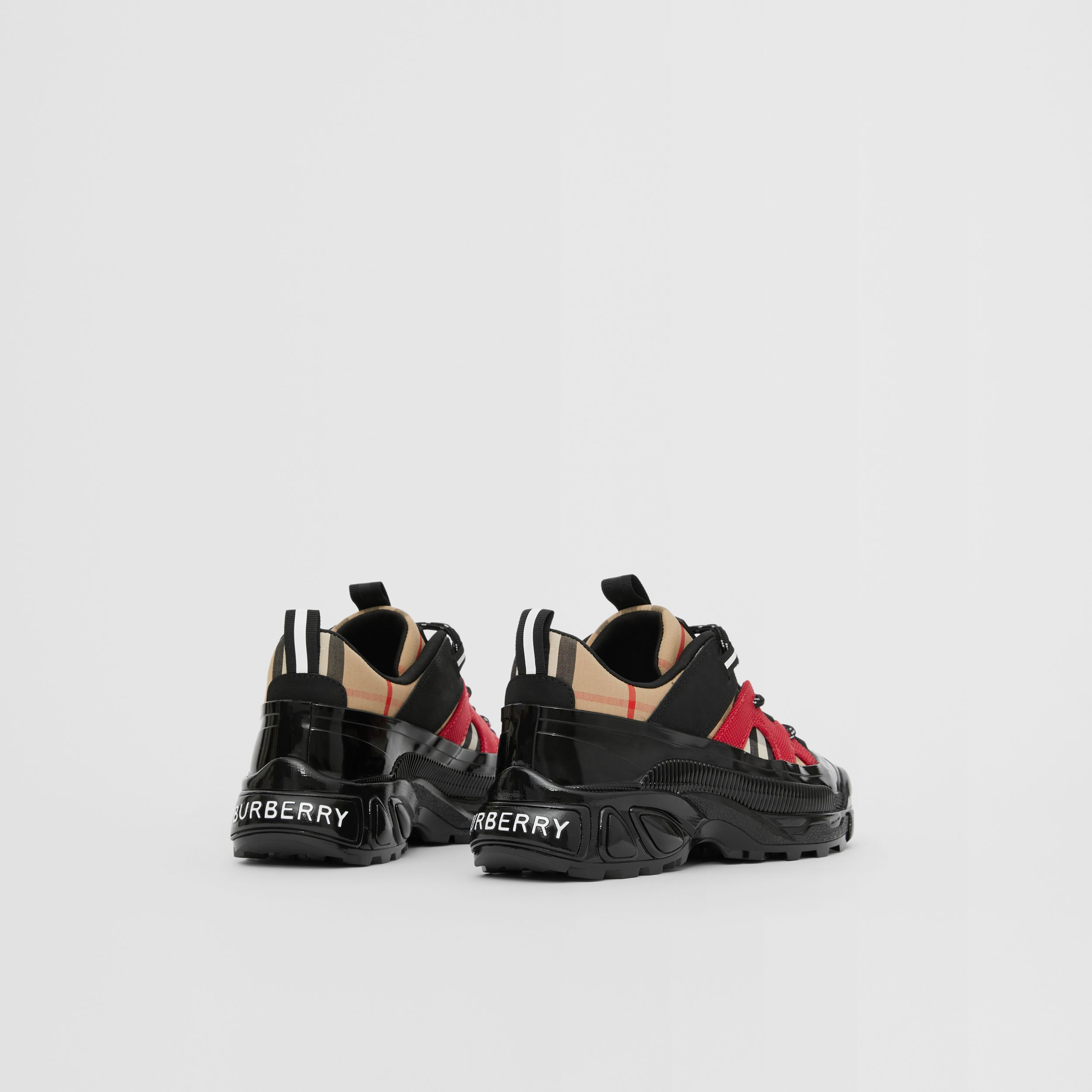 Vintage Check Cotton and Nubuck Sneakers in Black/bright Red - Children | Burberry - 3