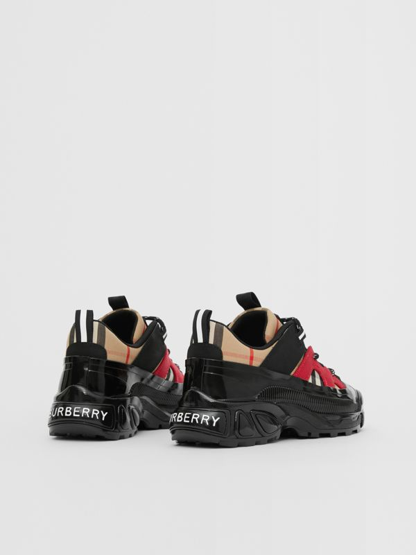 Vintage Check Cotton and Nubuck Sneakers in Black/bright Red - Children | Burberry United States - cell image 2