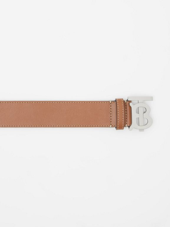 Monogram Motif Topstitched Leather Belt in Tan - Men | Burberry - cell image 1