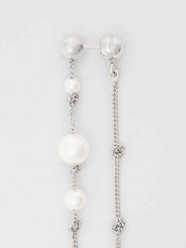 Faux Pearl Palladium-plated Drop Earrings in Palladio - Women | Burberry - cell image 3