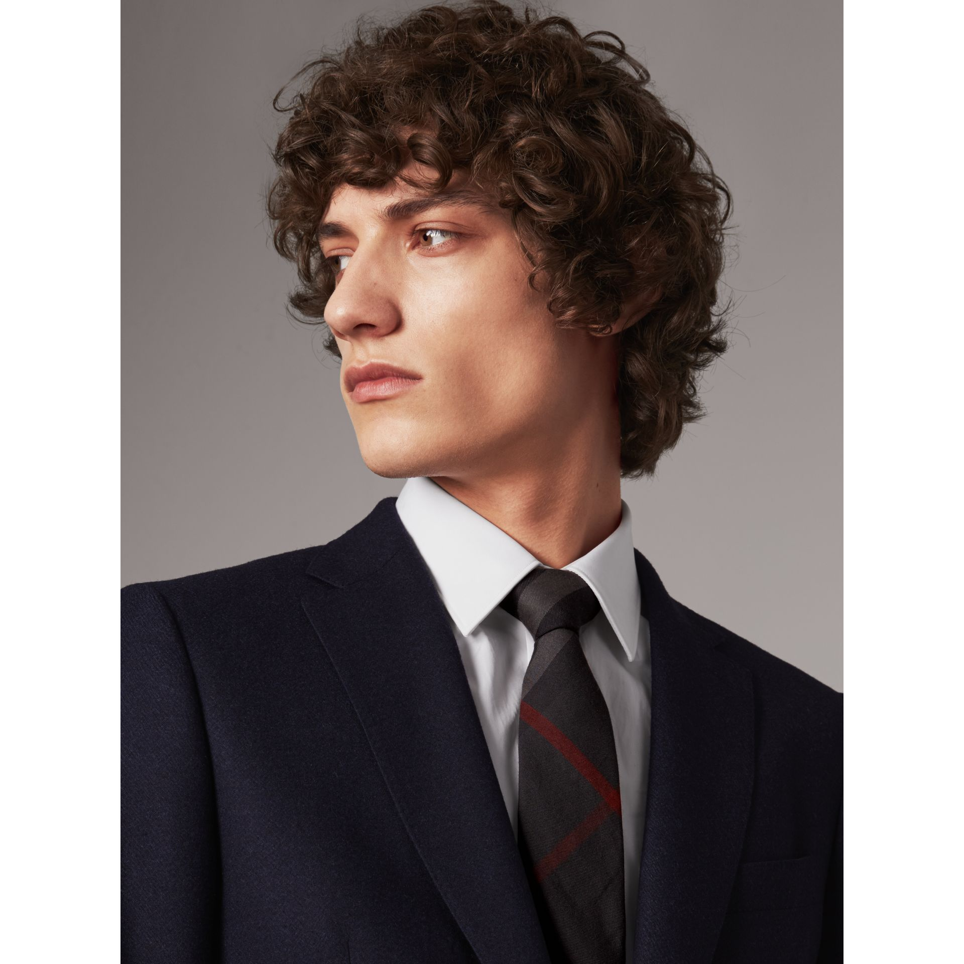 Modern Cut Check Cotton Cashmere Tie in Charcoal - Men | Burberry - gallery image 3