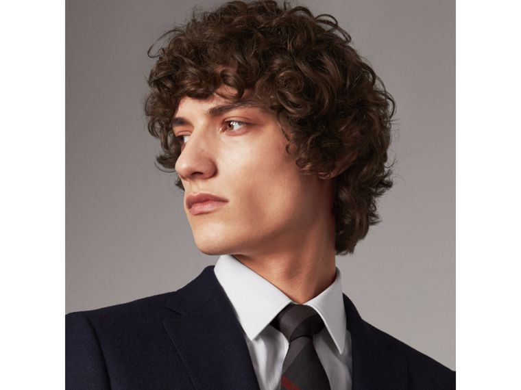 Modern Cut Check Cotton Cashmere Tie in Charcoal - Men | Burberry United Kingdom - cell image 2