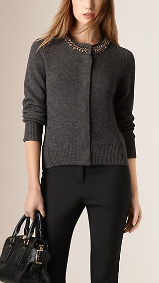 Chain Detail Wool Cashmere Cardigan