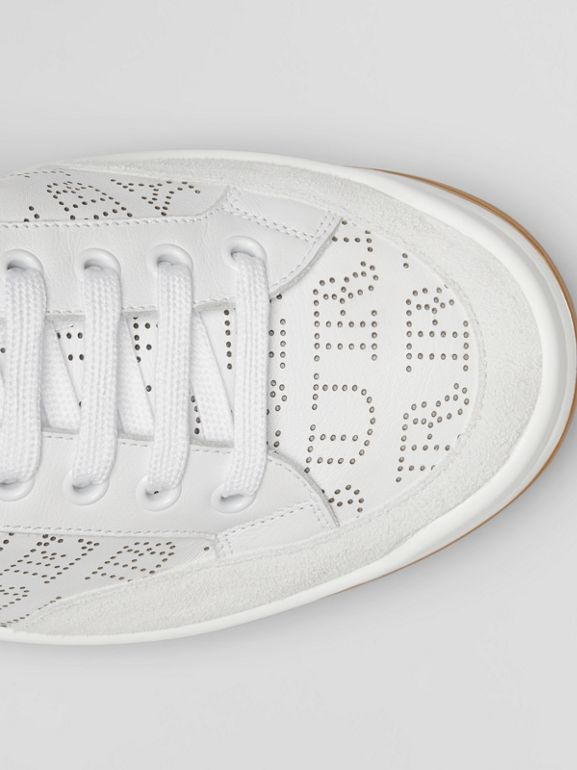 Logo Print Leather Sneakers in Optic White - Men | Burberry Canada - cell image 1