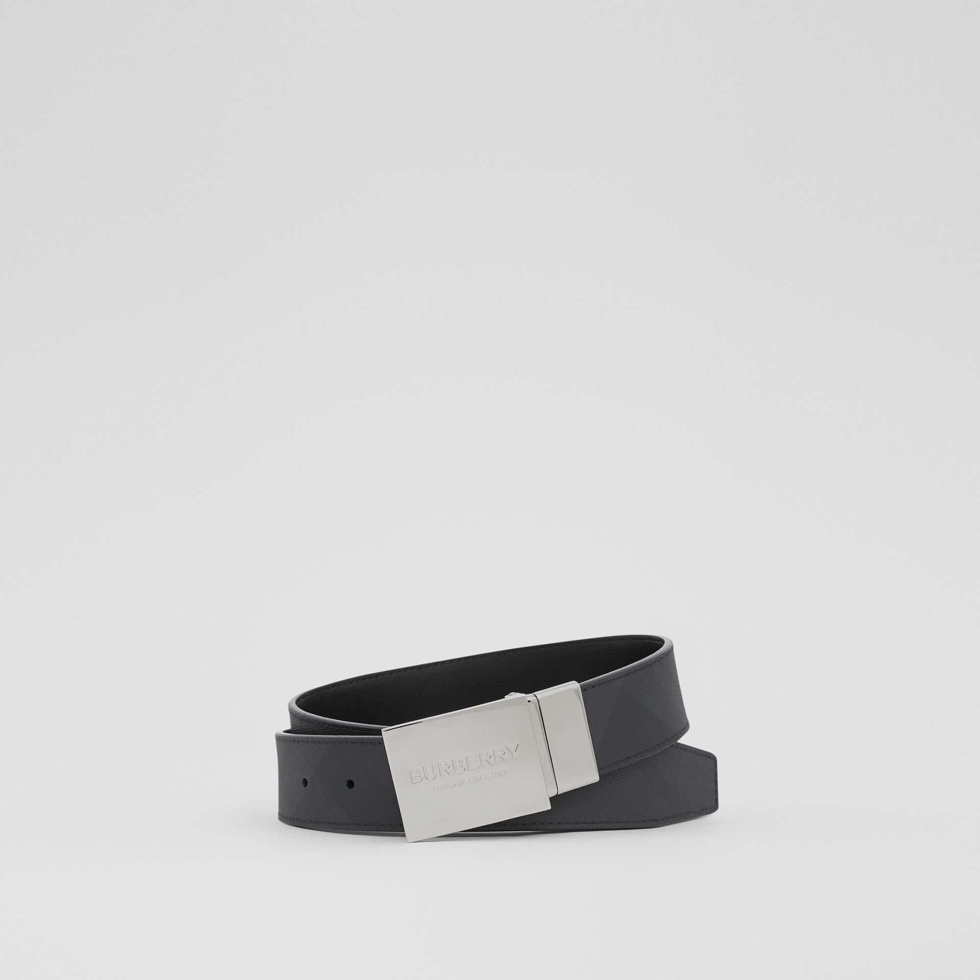 Reversible Plaque Buckle London Check Belt in Dark Charcoal/black - Men | Burberry Singapore - gallery image 0
