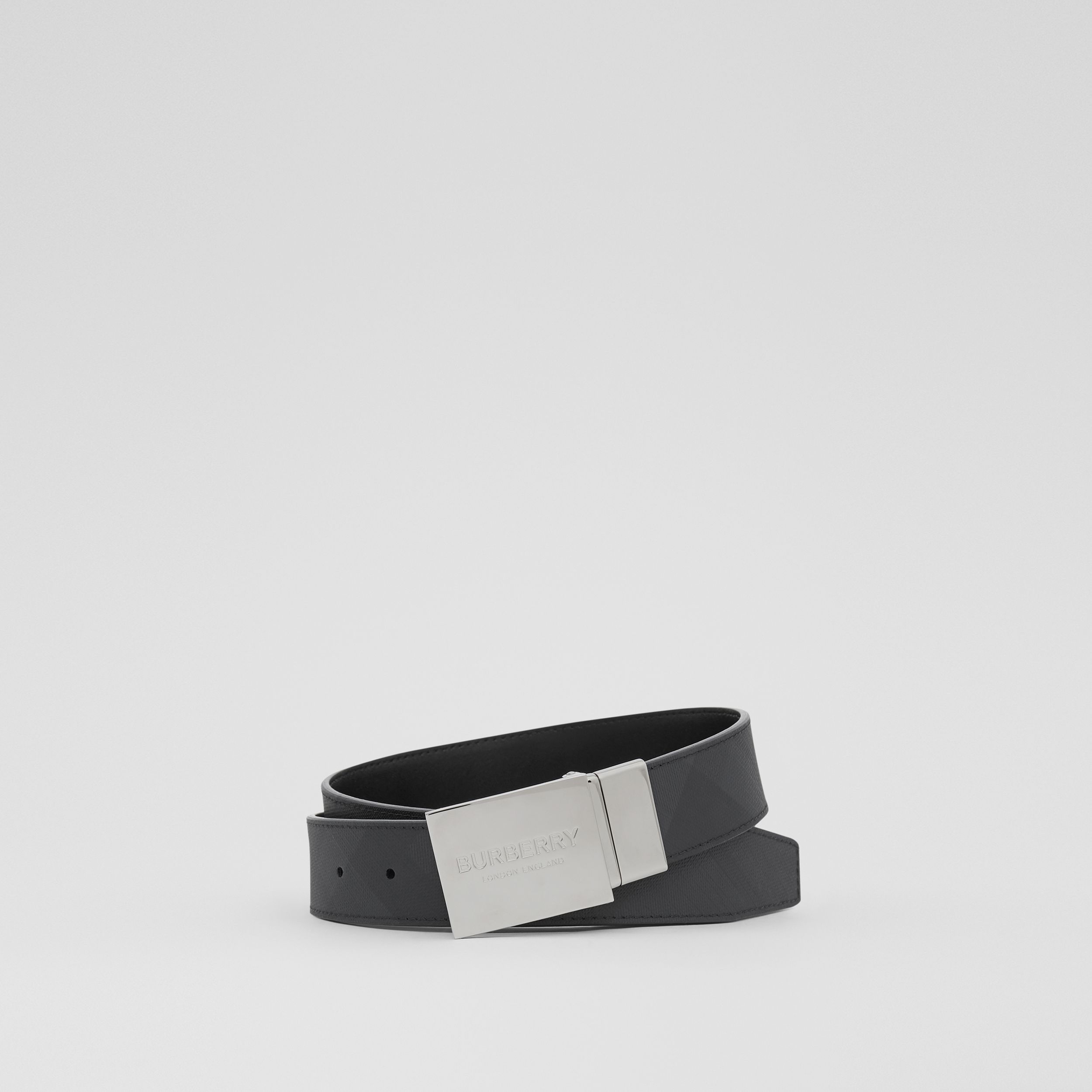 Reversible Plaque Buckle London Check Belt in Dark Charcoal / Black - Men | Burberry - 1