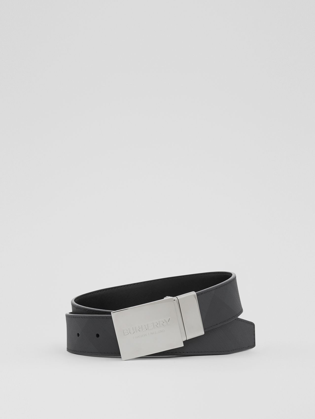 Reversible Plaque Buckle London Check Belt in Dark Charcoal / Black