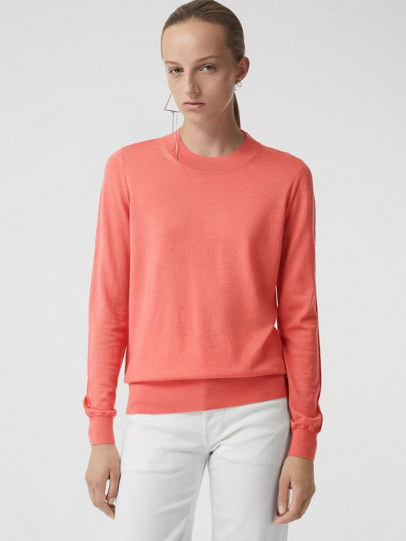 Merino Wool Crew Neck Sweater in Coral