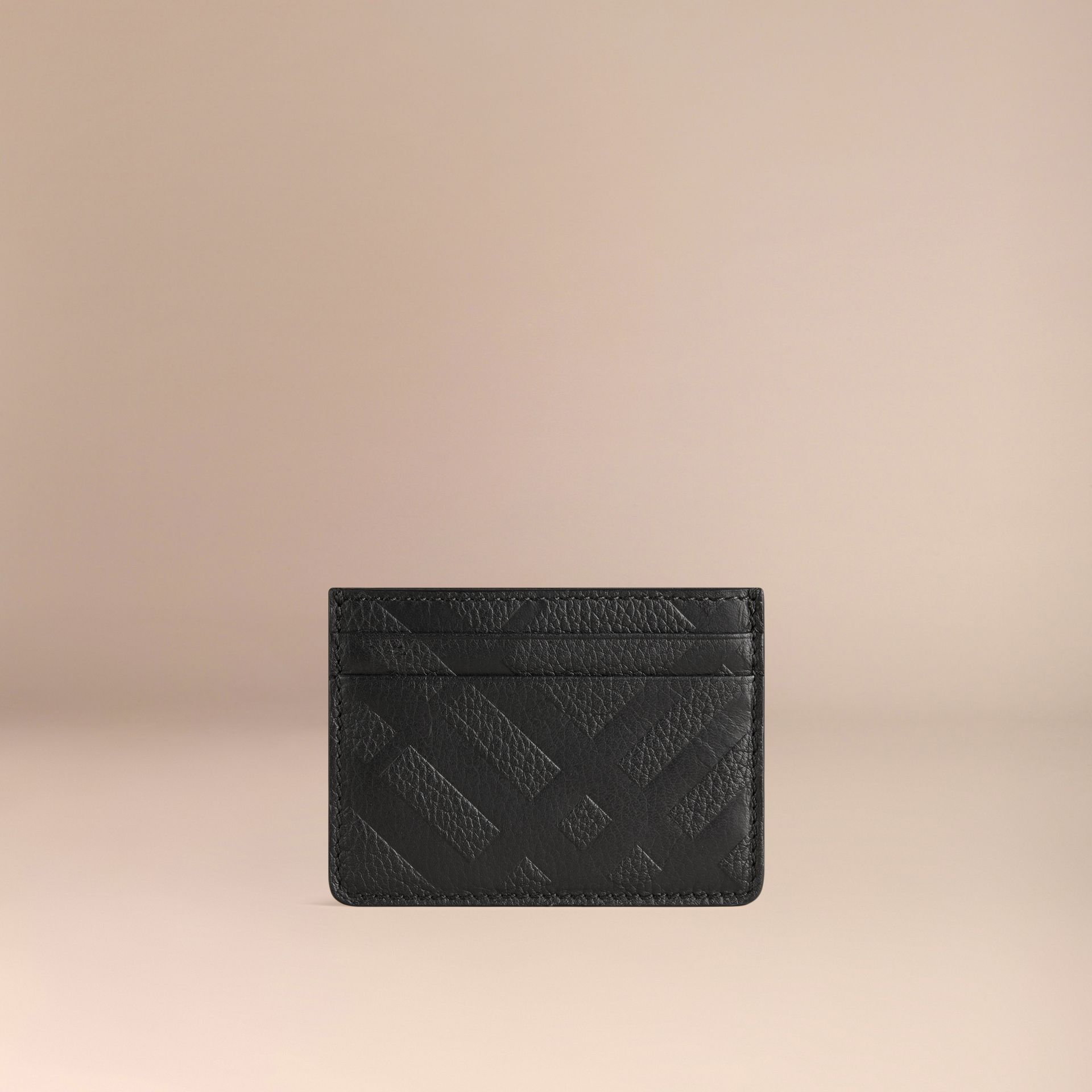 Black Embossed Check Leather Card Case Black - gallery image 3