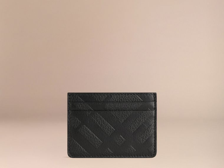 Black Embossed Check Leather Card Case Black - cell image 2