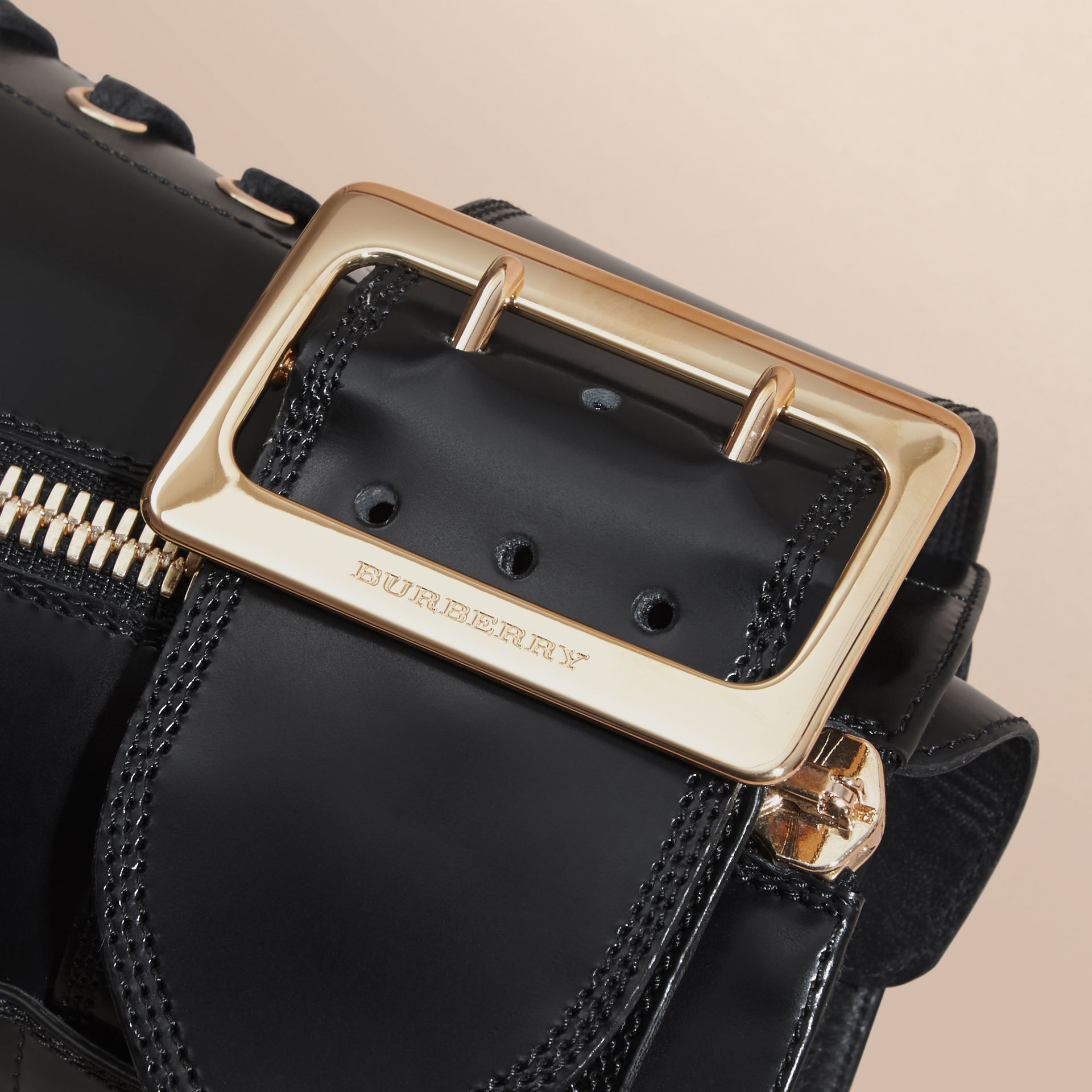 Leather Buckle Detail Boots Black - gallery image 2