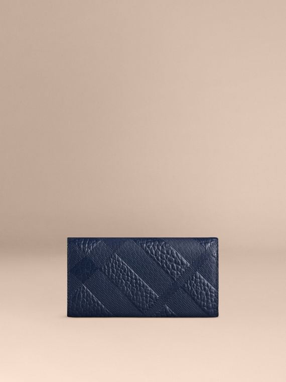 Blue carbon Embossed Check Leather Continental Wallet Blue Carbon - cell image 2