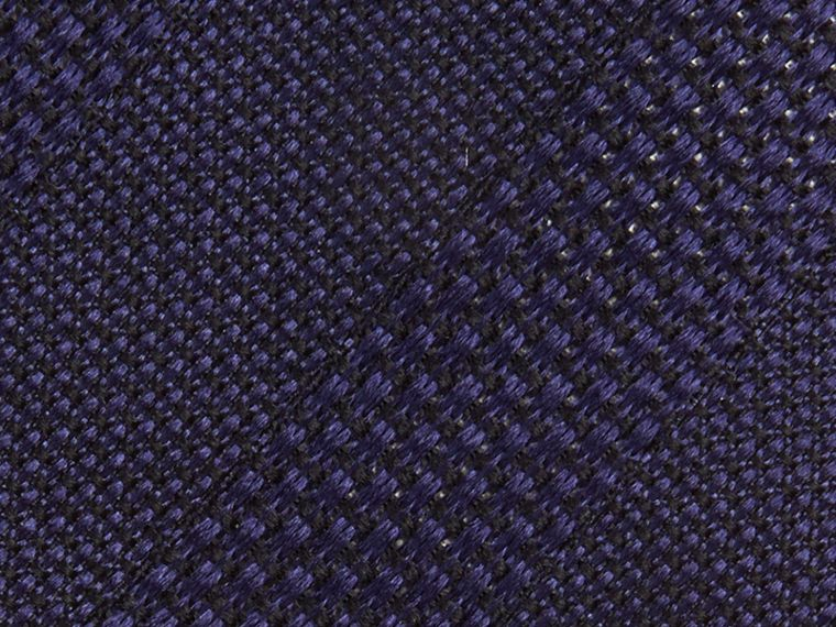 Navy Modern Cut Striped Silk Jacquard Tie Navy - cell image 1
