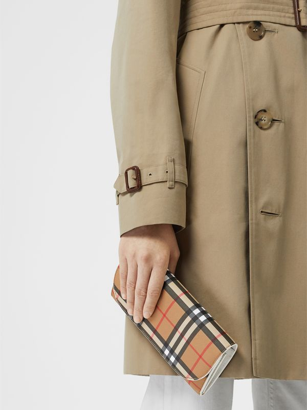 Vintage Check and Leather Wallet with Chain in Chalk White - Women | Burberry Canada - cell image 2