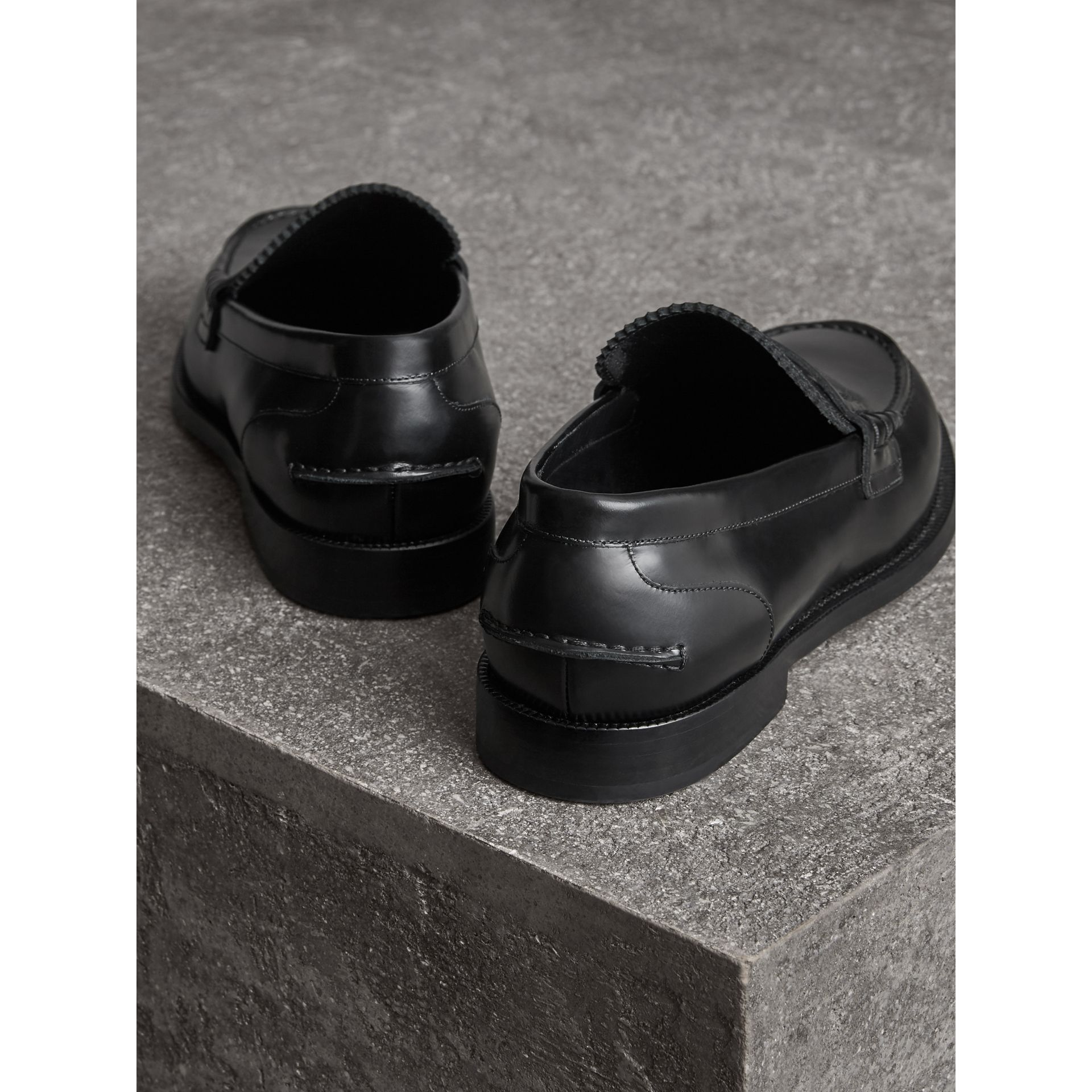 Leather Penny Loafers in Black - Men | Burberry - gallery image 3