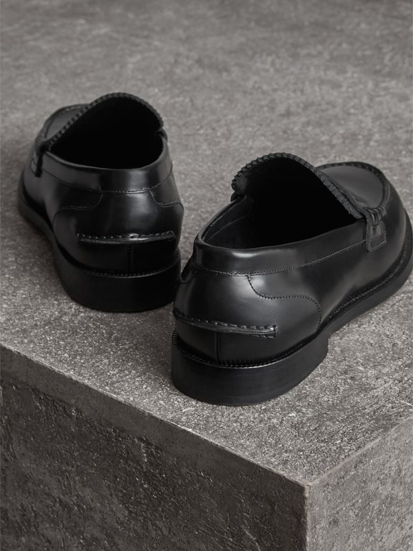 Leather Penny Loafers in Black - Men | Burberry United Kingdom - cell image 3