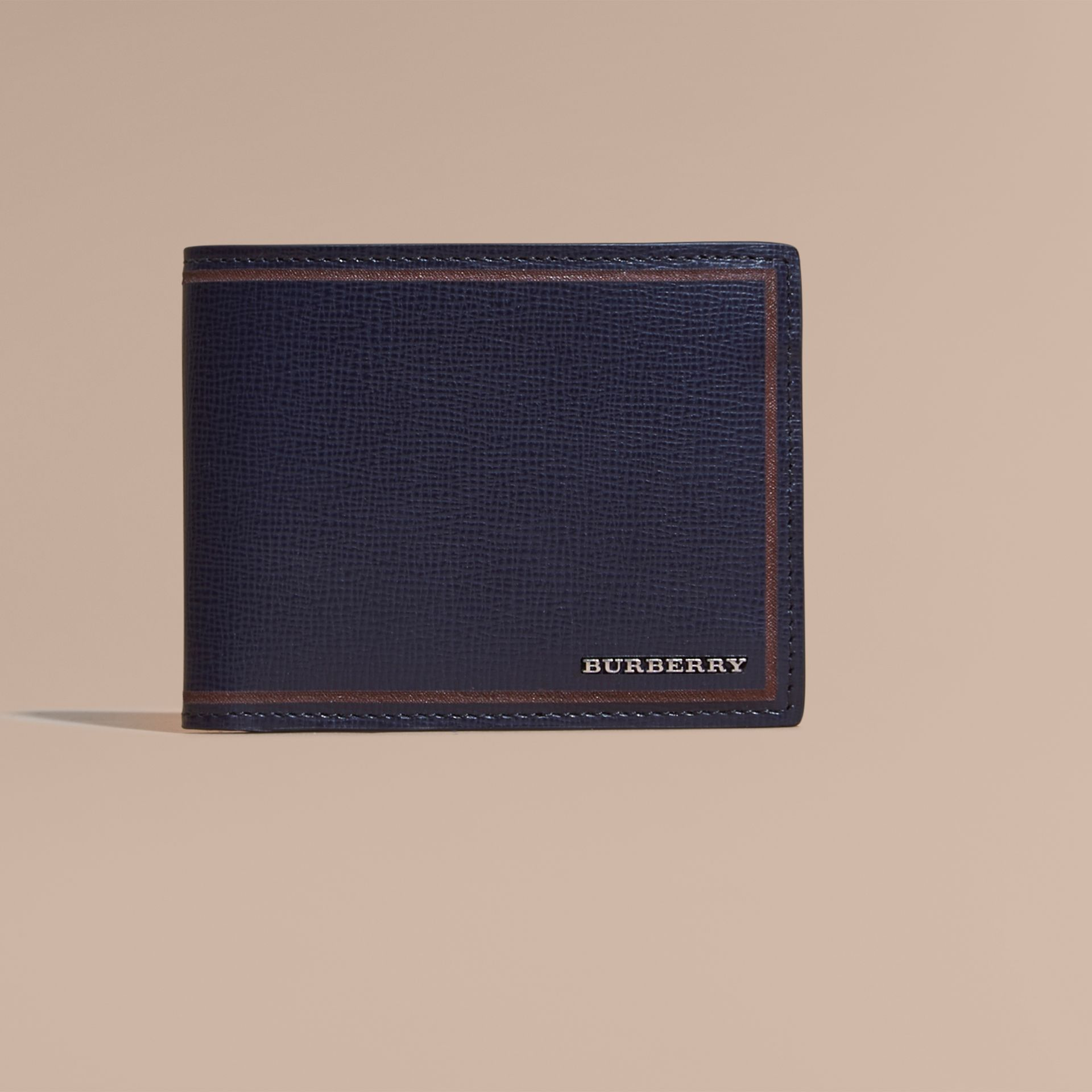 Border Detail London Leather Bifold Wallet in Dark Navy - gallery image 2